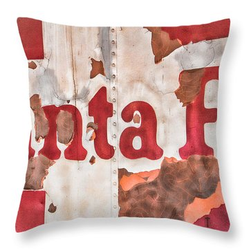 Santa Fe Vintage Railroad Sign Throw Pillow