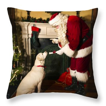 Santa Giving The Dog A Gift Throw Pillow
