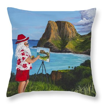 Santa In Kahakuloa Maui Throw Pillow