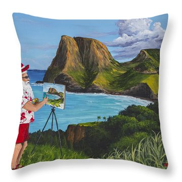 Santa In Kahakuloa Maui Throw Pillow by Darice Machel McGuire