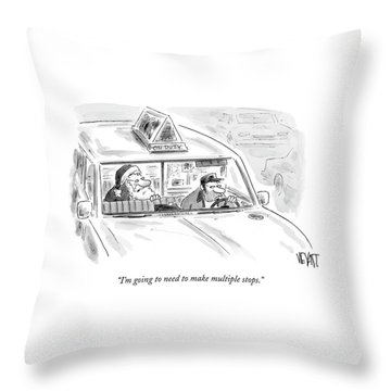 Santa In The Back Of A Cab Throw Pillow
