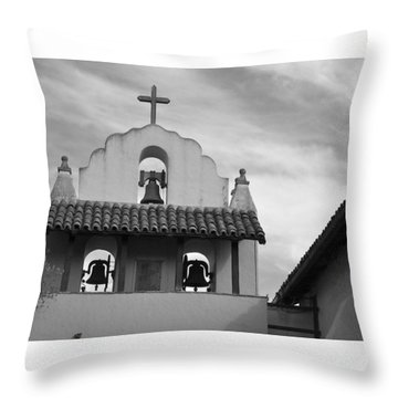 Santa Ines Mission Bell Tower Throw Pillow