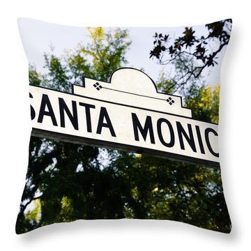 Santa Monica Blvd Street Sign In Beverly Hills Throw Pillow