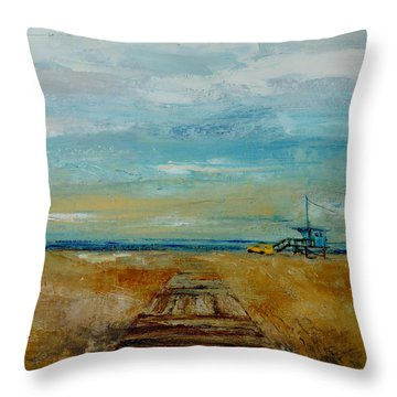 Santa Monica Boardwalk Throw Pillow by Lindsay Frost