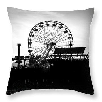 Santa Monica Ferris Wheel Black And White Photo Throw Pillow by Paul Velgos