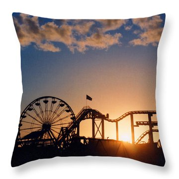Santa Monica Pier Throw Pillow by Art Block Collections