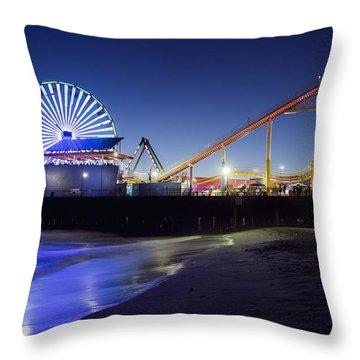 Santa Monica Pier At Night Throw Pillow