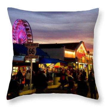 Santa Monica Pier At Sunset Throw Pillow by Diana Sainz
