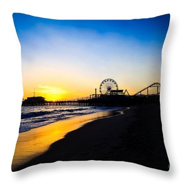 Santa Monica Pier Pacific Ocean Sunset Throw Pillow by Paul Velgos