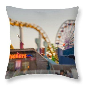 Santa Monica Pier Ride Entrance Throw Pillow