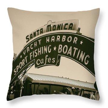 Throw Pillow featuring the photograph Santa Monica Pier Sign by David Millenheft