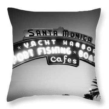 Santa Monica Pier Sign In Black And White Throw Pillow by Paul Velgos
