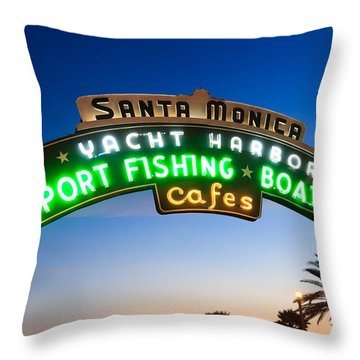 Santa Monica Pier Sign Throw Pillow by Paul Velgos