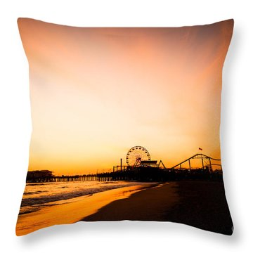 Santa Monica Pier Sunset Southern California Throw Pillow by Paul Velgos