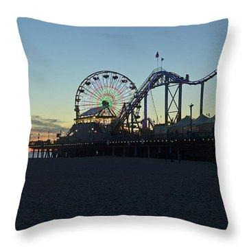 Santa Monica Pier Sunset Throw Pillow