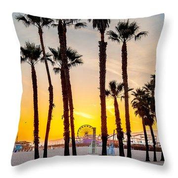Santa Monica Sunset 2 Throw Pillow by Az Jackson