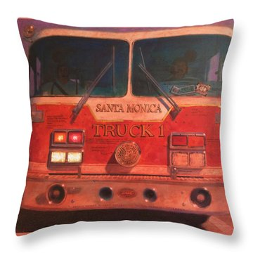 Santa Monica Truck One Throw Pillow by Blue Sky