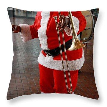 Santa New Orleans Style Throw Pillow by Joe Kozlowski