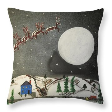 Throw Pillow featuring the painting Santa Over The Moon by Jeffrey Koss