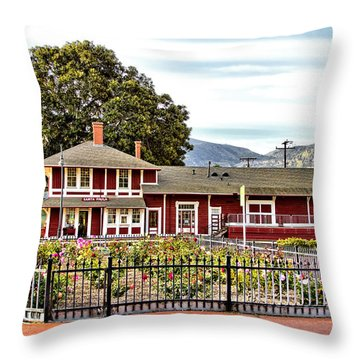 Santa Paula Train Station Throw Pillow
