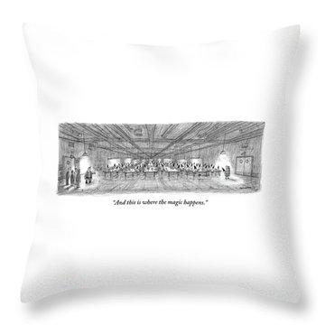 Santa Shows Visitors His Sweatshop-like Warehouse Throw Pillow