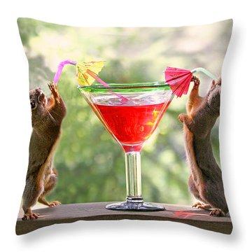 Santa Squirrels Celebrating Christmas Throw Pillow