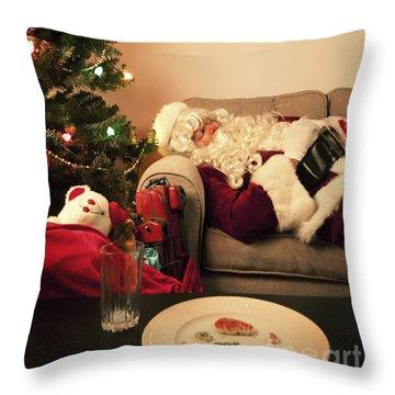 Santa Takes A Nap Throw Pillow