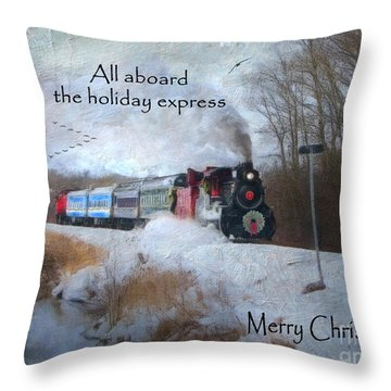 Throw Pillow featuring the digital art Santa Train - Waterloo Central Railway by Lianne Schneider