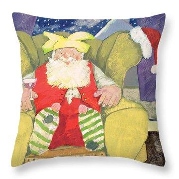 Santa Warming His Toes  Throw Pillow by David Cooke