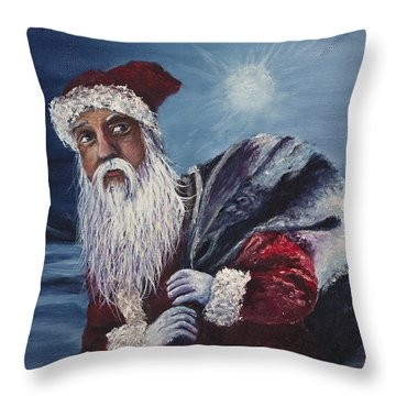 Santa With His Pack Throw Pillow