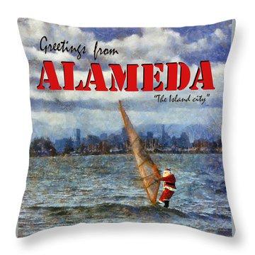 Alameda Santa's Greetings Throw Pillow by Linda Weinstock