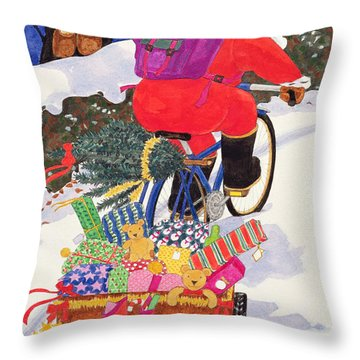 Santas Bike Throw Pillow by Linda Benton