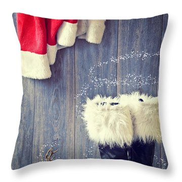 Santa's Boots Throw Pillow by Amanda Elwell