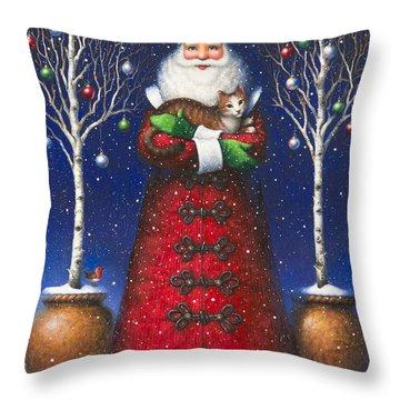 Santa's Cat Throw Pillow