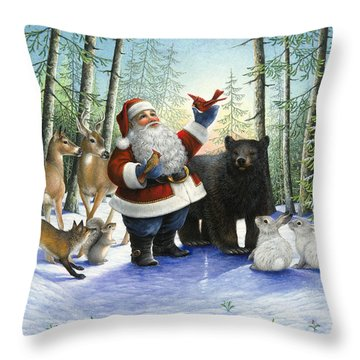 Santa's Christmas Morning Throw Pillow by Lynn Bywaters