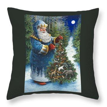 Santa's Christmas Tree Throw Pillow
