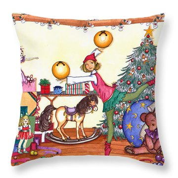 Santa's Giftwrapper Throw Pillow by Katherine Miller
