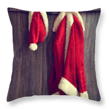 Santa's Hat And Coat Throw Pillow by Amanda Elwell
