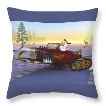 Santa's New Sleigh Throw Pillow by Ken Morris