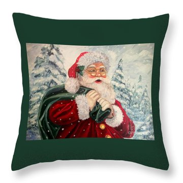 Santa's On His Way Throw Pillow