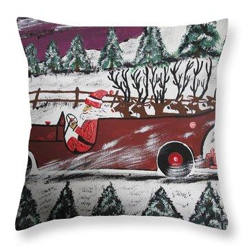 Santa's Truckload Throw Pillow by Jeffrey Koss