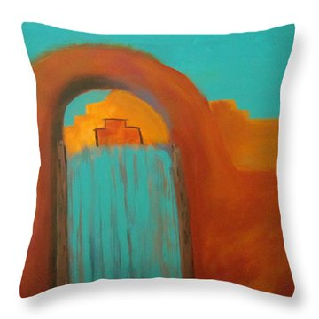 Throw Pillow featuring the painting Sante Fe by Keith Thue