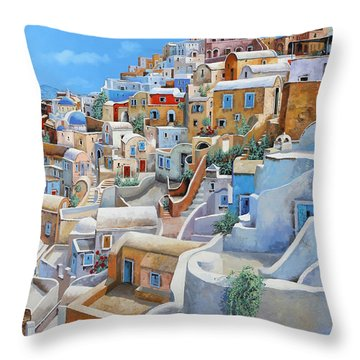 Santorini A Colori Throw Pillow