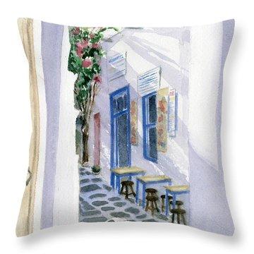 Santorini Cafe Throw Pillow
