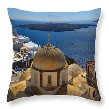Santorini Caldera With Church And Thira Village Throw Pillow by David Smith