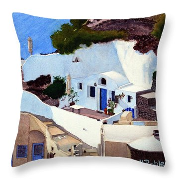 Santorini Cave Homes Throw Pillow by Mike Robles