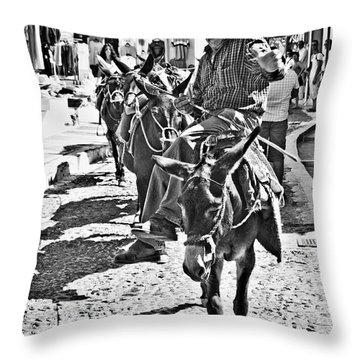 Santorini Donkey Train. Throw Pillow by Meirion Matthias