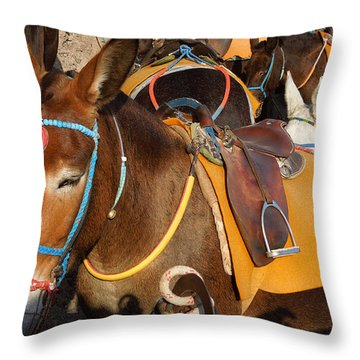 Santorini Donkeys Ready For Work Throw Pillow