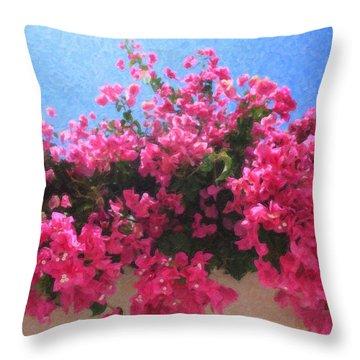Santorini Flowers Grk1113 Throw Pillow