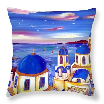 Santorini Is My Dream Throw Pillow